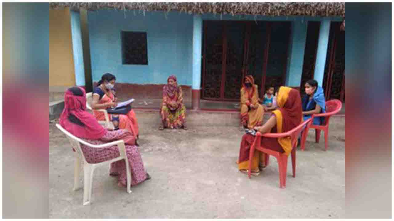 ASHA & Anganwadi workers visiting door to door for health survey and to create community awareness in rural areas of Bhadrak district, Odisha