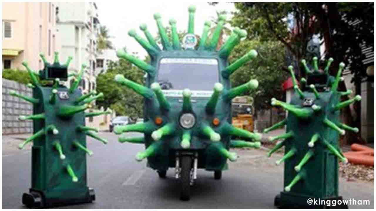 Coronavirus themed robots were used in Chennai to sanitise the containment zones