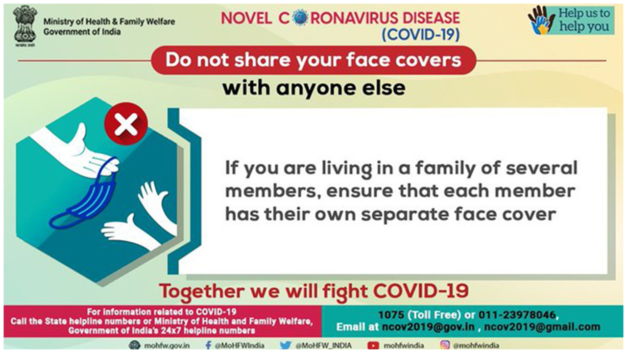MHFW: Home Made Face Cover Is Good For Maintaining Personal Hygiene. Together We Will Fight #Covid19