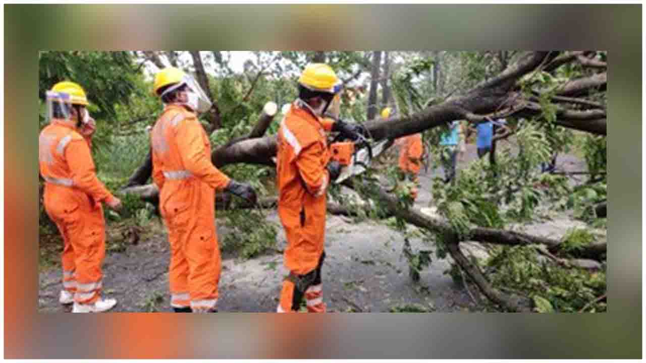 NDRF personnel are in action in cyclone-hit Odisha and West Bengal.