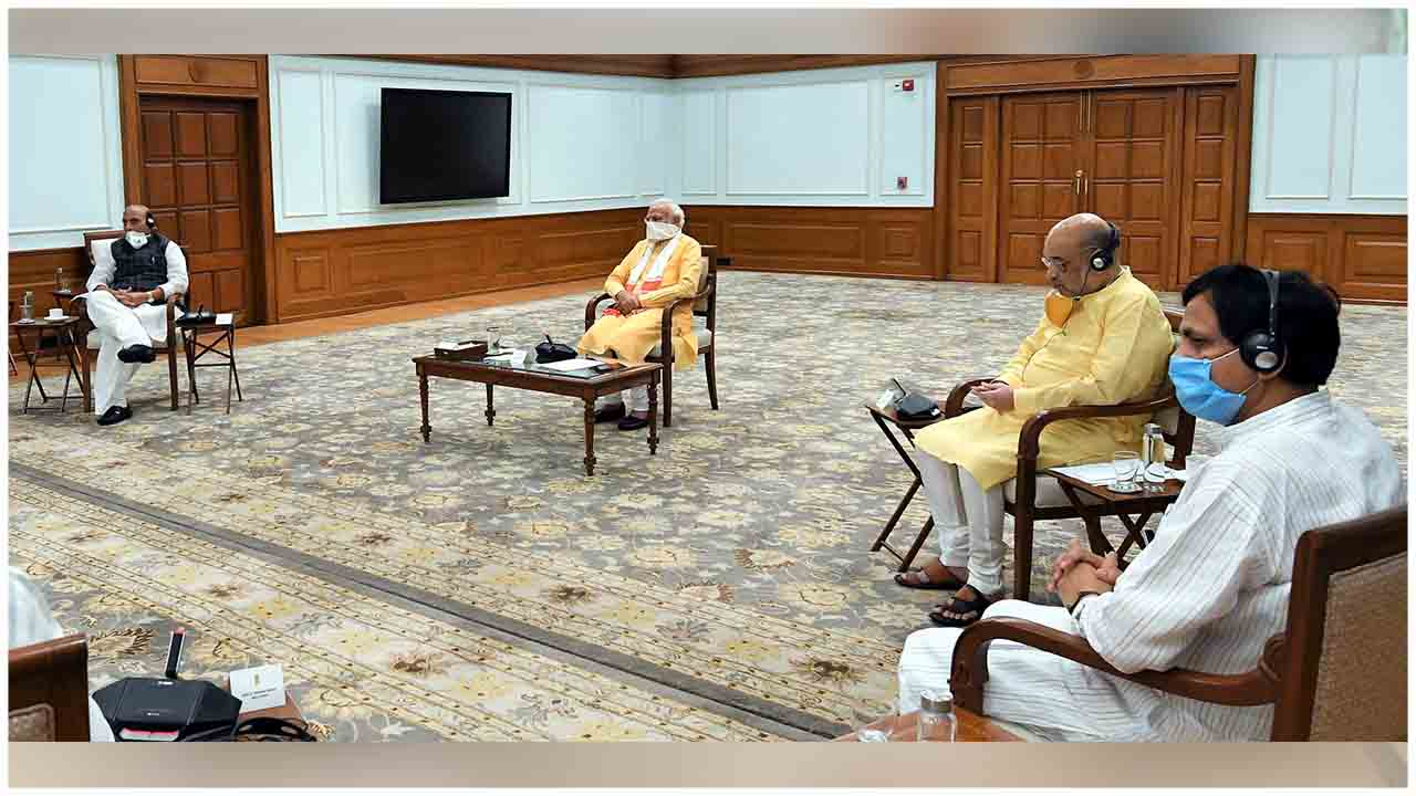 PM Modi chairing a meeting of the National Disaster Management Authority regarding the gas leak incident in Visakhapatnam