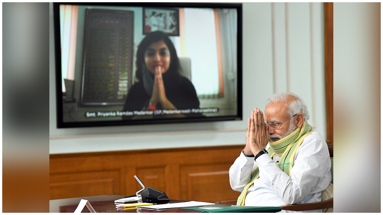 PM Modi Interacts With Sarpanchs On National Panchayati Raj Divas