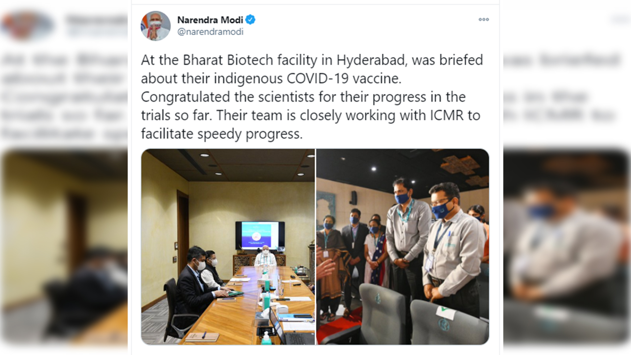 Prime Minister Narendra Modi visited Bharat  Biotech facility in Hyderabad