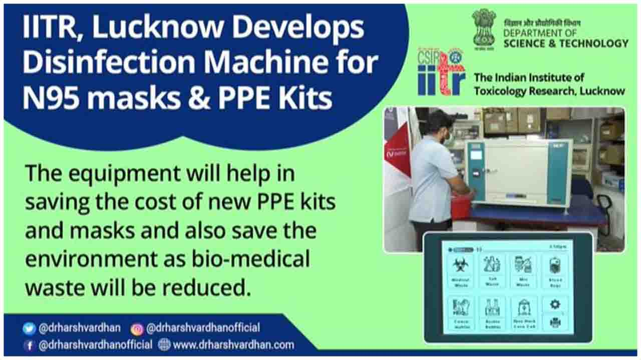 The Indian Institute of Toxicology Research (IITR), Lucknow in association with Major Technology, developed a disinfection machine for N95 masks & PPE kits which makes them reusable