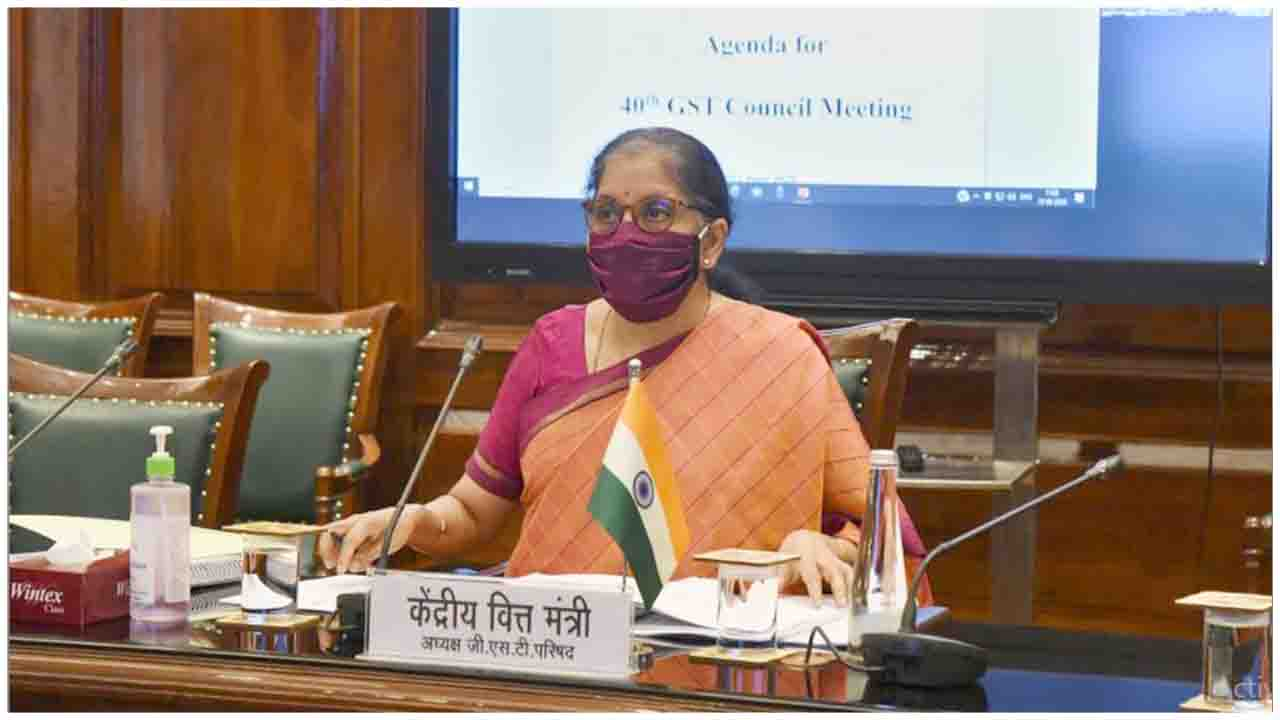 The Union Minister for Finance and Corporate Affairs, Smt. Nirmala Sitharaman chairing the 40th GST Council meeting via video conferencing, in New Delhi