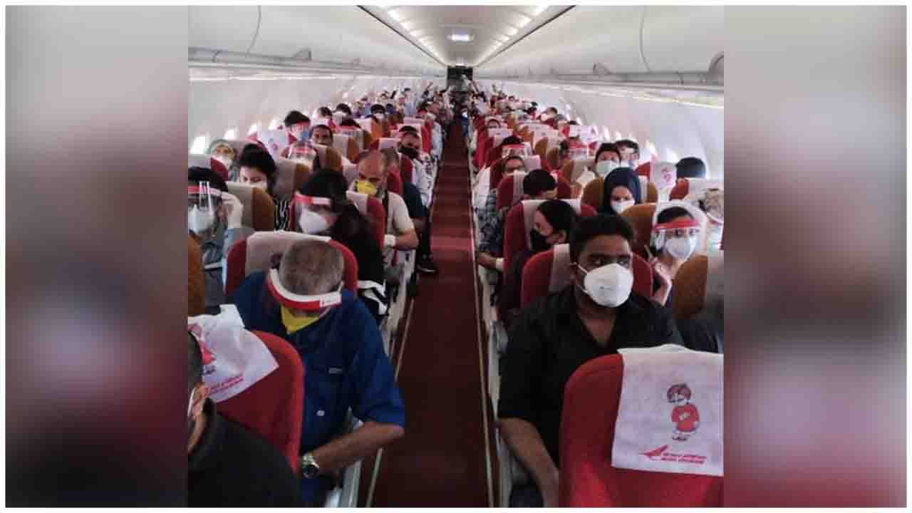 The first flight under VandeBharatMission from Nepal carrying 165 stranded Indians departs from Kathmandu to Delhi.