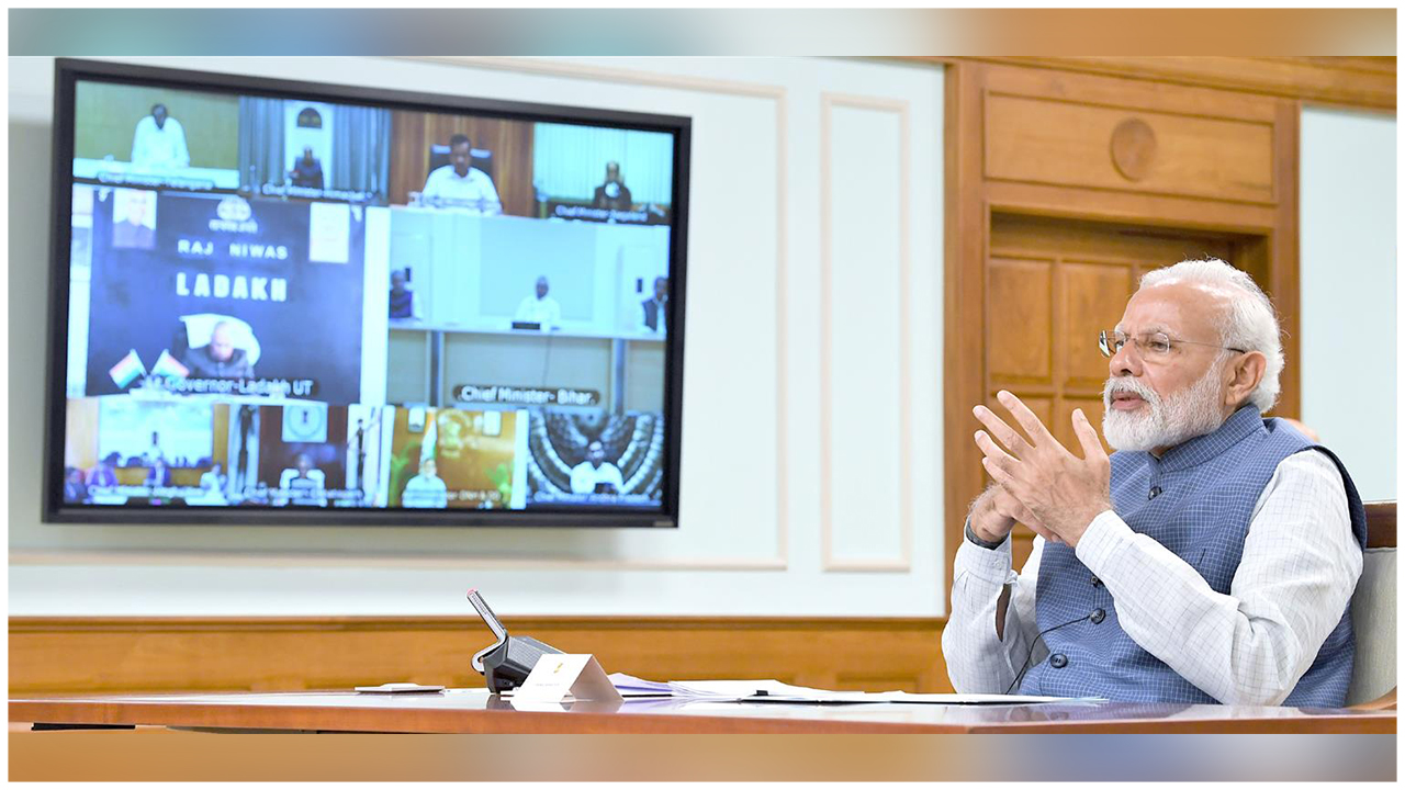 The Prime Minister, Shri Narendra Modi interacting with the Chief Ministers of States via video conferencing to discuss measures to combat COVID-19, in New Delhi.