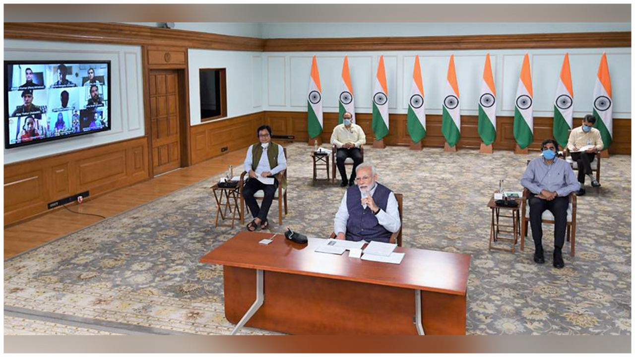 The Prime Minister, Shri Narendra Modi interacting with the eminent sportsperson about COVID-19 via video conference, in New Delhi.