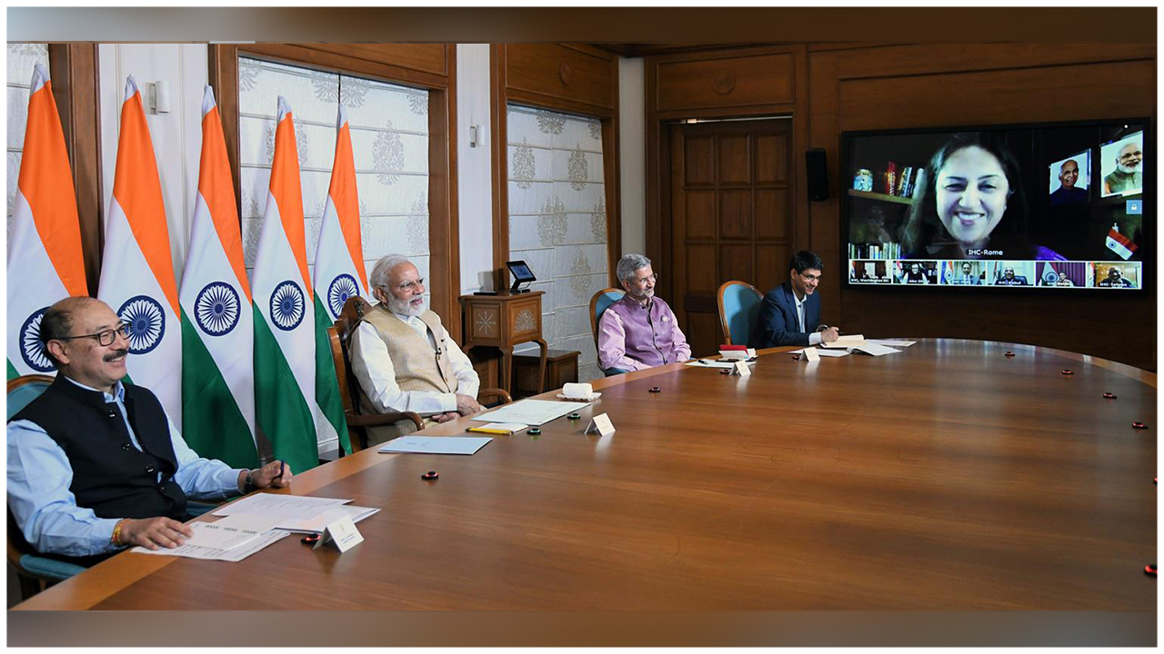 The Prime Minister, Shri Narendra Modi interacting with the Heads of Indian Missions abroad through video conferencing to discuss responses to the global COVID-19 pandemic, in New Delhi.