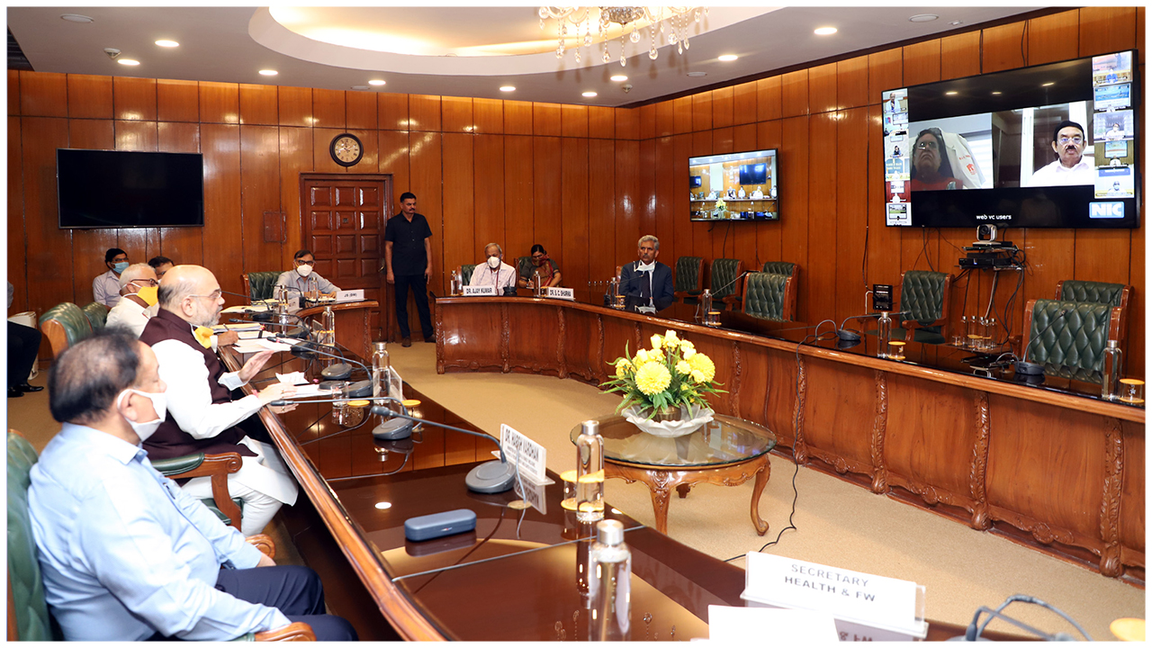 The Union Home Minister, Shri Amit Shah and the Union Minister for Health & Family Welfare, Science & Technology and Earth Sciences, Dr. Harsh Vardhan interacting with the doctors and senior representatives of the Indian Medical Association (IMA) in the wake of country's fight against COVID-19, through video conference, in New Delhi