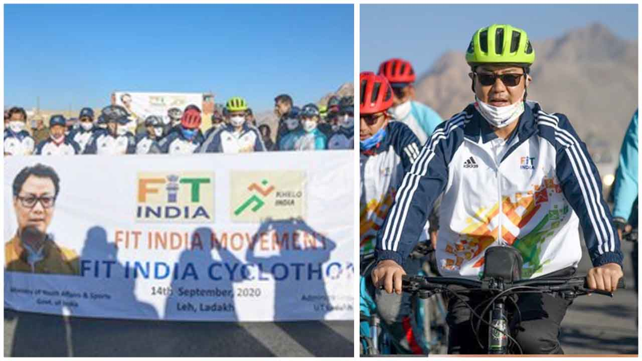 Union Sports Minister KirenRijiju inaugurates FitIndia Cyclothon, a 25 Km Cycle Rally, in Leh; Sports Minister is in Leh to inaugurate various sports facilities.